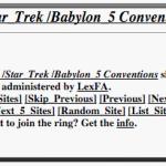 Sci Fi TV / Star Trek / Babylon 5 Conventions Webring